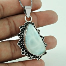 Natural Blue Larimar Gemstone Oxidized Pendant 925 Sterling Silver Jewellery