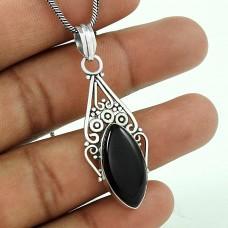 Web Of Love !! 925 Sterling Silver Black Onyx Pendant