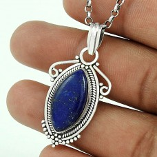 sterling silver fashion jewelry Traditional Lapis Gemstone Bohemian Pendant