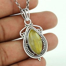 925 sterling silver jewelry Charming Golden Rutile Gemstone Pendant