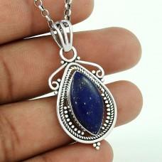 Rattling 925 Sterling Silver Lapis Gemstone Pendant Jewellery