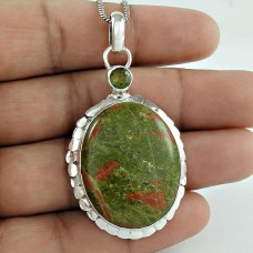 925 Sterling Silver Gemstone Jewelry Charming Unakite, Peridot Gemstone Pendant Supplier