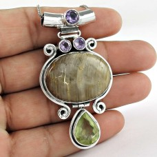 925 Sterling Silver Indian Jewelry Beautiful Slice Agate, Prehnite, Amethyst Gemstone Pendant Fabricante