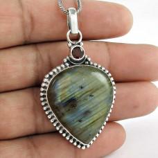 925 sterling silver gemstone jewelry Fashion Labradorite, Garnet Gemstone Pendant