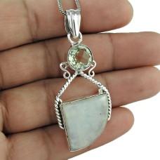 925 Sterling Silver Jewelry Rare Rainbow Moonstone, Crystal Gemstone Pendant Al por mayor