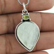 925 Sterling Silver Fashion Jewelry Charming Mother of Pearl, Peridot Gemstone Pendant Wholesaler India