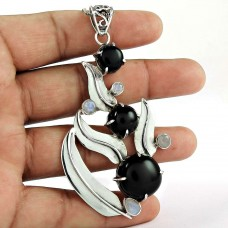 sterling silver jewelry Beautiful Black Onyx, Rainbow Moonstone Pendant
