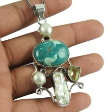 Beautiful Turquoise, Pearl, Peridot, Mother of Pearl Gemstone Pendant 925 Silver Jewellery