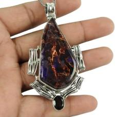 Stylish Dico Glass, Smoky Quartz Gemstone Pendant 925 Sterling Silver Jewellery