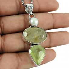 Pleasing Golden Rutile, Prehnite, Pearl Gemstone Pendant 925 Sterling Silver Jewellery