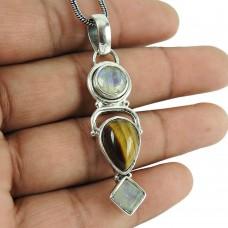 Classic Rainbow Moonstone, Tiger Eye Gemstone Pendant 925 Sterling Silver Jewellery