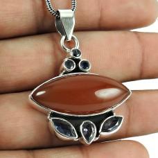 Pleasing Carnelian, Iolite Gemstone Pendant 925 Sterling Silver Jewellery