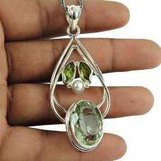 Personable Green Amethyst, Pearl, Peridot Gemstone Pendant 925 Silver Jewellery