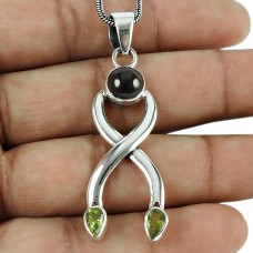 Excellent Amethyst, Peridot Gemstone Pendant 925 Sterling Silver Vintage Jewellery