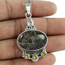925 Sterling Silver Jewelry Charming Jasper, Citrine, Crystal Gemstone Pendant Manufacturer India