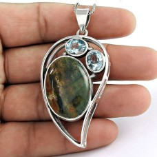 Sterling Silver Jewelry Ethnic Blood Stone, Blue Topaz Gemstone Pendant Wholesale