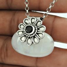 925 Sterling Silver Rainbow Moonstone, Black Onyx Gemstone Ethnic Pendant Jewellery