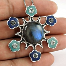 925 Sterling Silver Jewelry Charming Labradorite, Blue Topaz, Black CZ Gemstone Pendant Proveedor