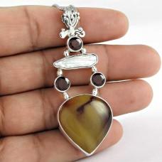 925 Sterling Silver Vintage Jewelry Beautiful Mookaite, Biwa Pearl, Garnet Gemstone Pendant Manufacturer