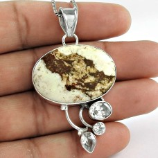 Indian Sterling Silver Jewelry Ethnic Snow Jasper, Crystal Gemstone Pendant Fournisseur