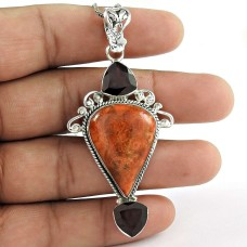 925 sterling silver fashion jewelry Trendy Orange Turquoise, Garnet Gemstone Pendant Manufacturer