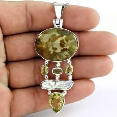 925 sterling silver fashion jewelry Designer Citrine, Biwa Pearl, Gemstone Pendant