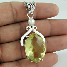 925 Sterling Silver Vintage Jewelry Fashion Lemon Quartz, Pearl Gemstone Pendant Proveedor