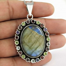 Sterling Silver Jewelry Beautiful Labradorite, Garnet, Peridot, Amethyst Gemstone Pendant Wholesaling