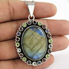 Sterling Silver Jewelry Beautiful Labradorite, Garnet, Peridot, Amethyst Gemstone Pendant Wholesaling