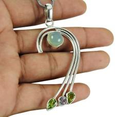 Daily Wear Chalcedony, Peridot, Amethyst Gemstone Pendant 925 Sterling Silver Jewellery