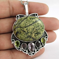 925 Sterling Silver Indian Jewelry Traditional Kite Jasper, Amethyst, Garnet, Peridot Gemstone Pendant Fabricant