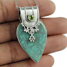 925 gemstone silver jewelry Trendy Turquoise, Peridot Gemstone Pendant
