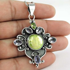 925 sterling silver fashion jewelry Charming Freshwater Pearl, Amethyst, Peridot Gemstone Pendant