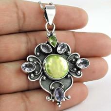 925 sterling silver fashion jewelry Charming Freshwater Pearl, Amethyst, Peridot Gemstone Pendant