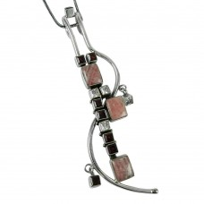 Trendy Rhodochrosite, Garnet, CZ Gemstone Pendant 925 Sterling Silver Gemstone Jewellery