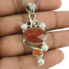 Crackled Fire Agate, Carnelian, Pearl Gemstone Pendant Sterling Silver Fashion Jewellery