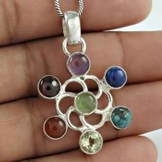 Perfect Garnet, Amethyst, Citrine, Carnelian, Lapis, Turquoise Gemstone Chakra Pendant Sterling Silver Jewellery