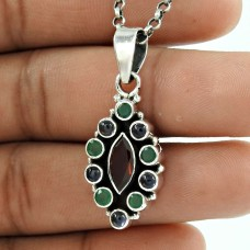 Stunning Natural Rich!! 925 Sterling Silver Garnet, Green Onyx, Iolite Pendant Wholesaler India