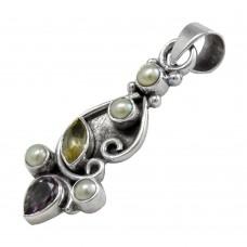 Big Secret Design!! 925 Sterling Silver Pearl, Amethyst, Citrine Pendant