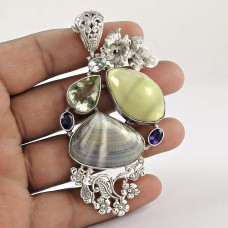 Sterling Silver Fashion Jewelry Rare Shell, Amethyst, Green Amethyst, Blue Topaz Gemstone Pendant Manufacturer