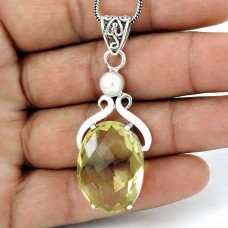 925 Sterling Silver Jewelry Fashion Lemon Topaz, Pearl Gemstone Pendant Supplier India