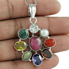 Awesome Design Of! 925 Sterling Silver Nine Stones Pendant Exporter India