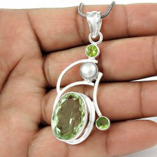 925 Sterling Silver Fashion Jewelry Ethnic Green Amethyst, Peridot, Pearl Gemstone Pendant Großhändler