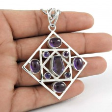 Sterling Silver Fashion Jewelry High Polish Amethyst Gemstone Pendant Manufacturer India