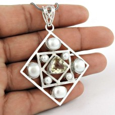925 gemstone silver jewelry Designer Pearl, Crystal Gemstone Pendant Manufacturer India