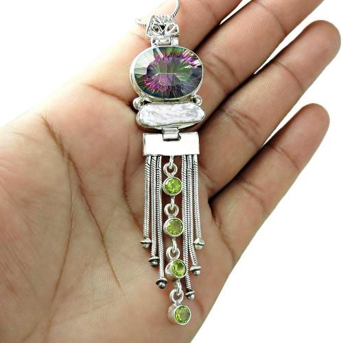 Sterling Silver Jewelry Ethnic Mystic Topaz, Biwa Pearl, Peridot Gemstone Pendant Grossiste