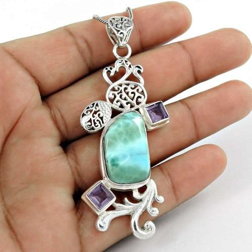 925 Silver Jewelry Ethnic Larimar, Amethyst Gemstone Pendant Fournisseur