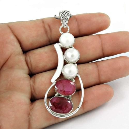 925 sterling silver fashion jewelry Beautiful Ruby, Pearl Pendant