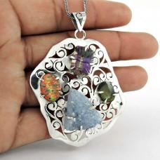 925 Sterling Silver Jewelry Rare Druzy, Mystic Topaz, Opal Gemstone Pendant Fabricant