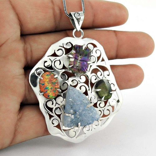 925 Sterling Silver Jewelry Rare Druzy, Mystic Topaz, Opal Gemstone Pendant Fabricant
